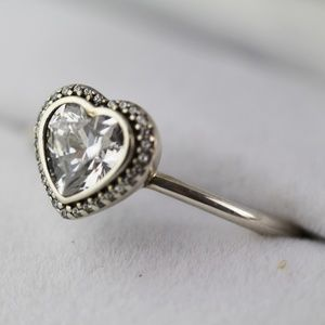 PANDORA Jewelry - PANDORA Sparkling Love Heart Ring Clear Cz.